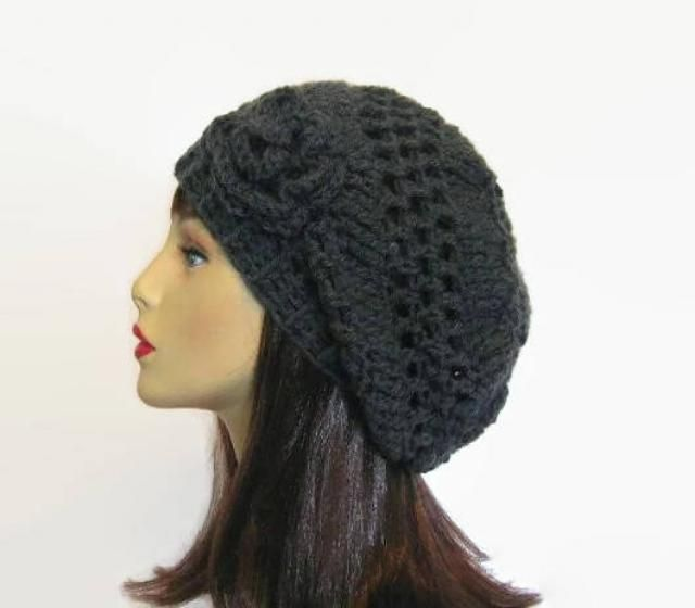 fdc5233b338 Gray Slouch Hat with Flower Charcoal Slouch Hat Gray Slouchy Beanie Gray  knit Cap Adult Cap