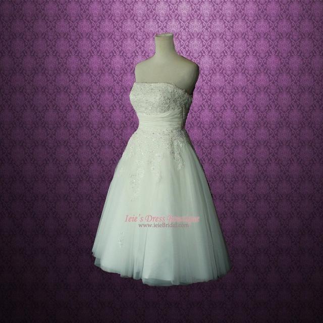 438f40cb5a21 Retro Vintage 50s Short Tea Length Wedding Dress with Floral Sash BH130803  Serena