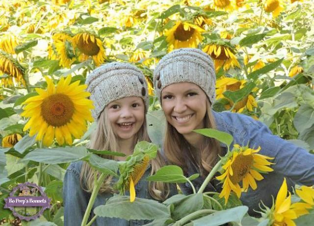 44b8a8cb3c219 Mommy and Me Matching Hand Knit Slouch Hats with Coconut Buttons