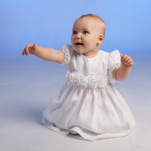 4e3a1c48ad3 Baby girl baptism dress Girl christening gown Flower girl white dress Baby  girl linen dress Girl