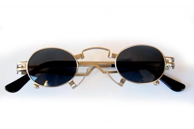 9feed21bc4d small round oval gold sunglasses for men Steampunk style Hi Tek