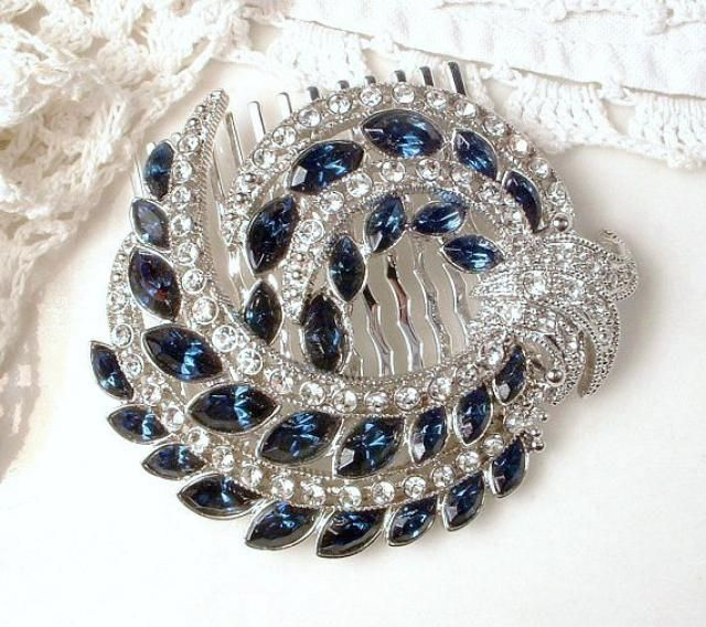 ace2e39d99a Vintage Sapphire Bridal Hair Comb 1920s Art Deco Navy Blue Rhinestone  Silver Pave Crystal Brooch to