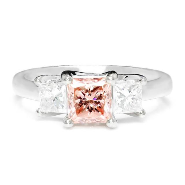 741674bc112e Certified Fancy Pink Diamond 3 Stone Engagement Ring 18kt White Gold 1.50ctw
