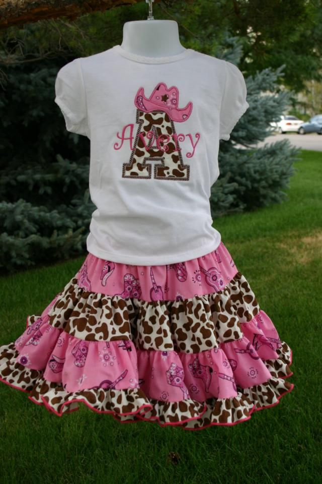 Aris Angels Pink And Brown Cowgirl Birthday Outfit Monogrammed Personalized Shirt Full Twirling
