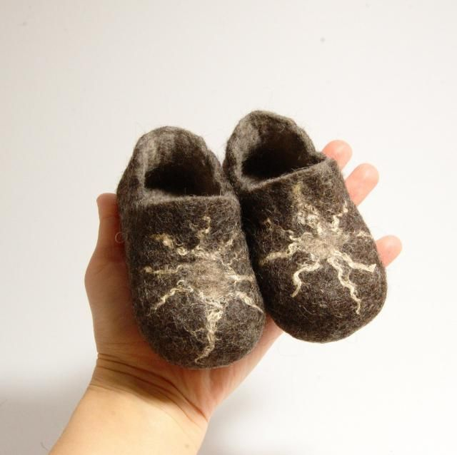 1e657e098964 Children shoes felted wool slippers brown with sun - toddler eco friendly  slippers - handmade felt