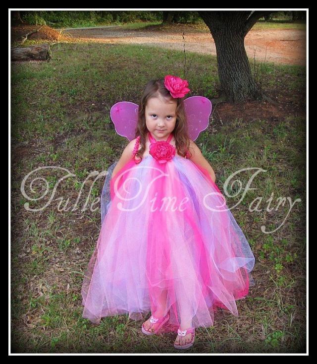 158ab8d4821 Hot pink lavender Rose Fairy tutu dress flower girl wedding costume 12m 18m  2t 3t 4t