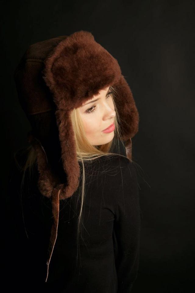 72cfe963 Sheepskin Trapper Ushanka Aviator Russian Fur Hat Unisex CHESTNUT Arctic  Store® Arktika