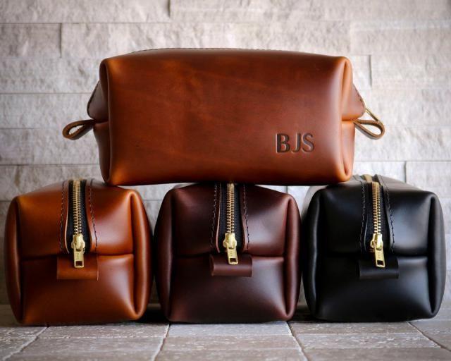 XL Leather Dopp Kit For Men Third Anniversary Gift Him Bag 3rd