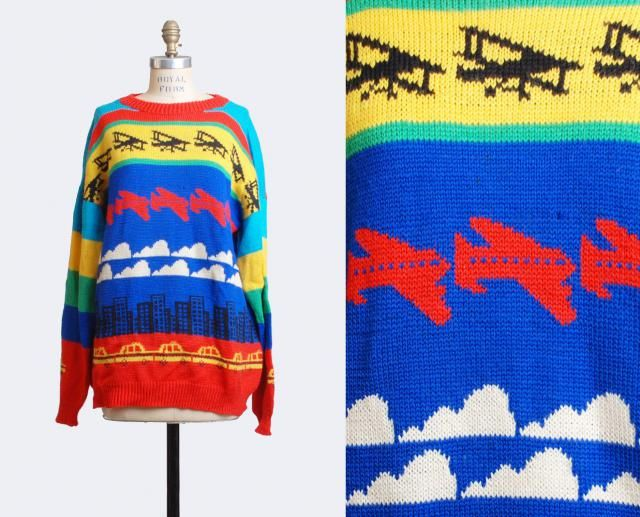 c9ac75fc6f1 Vintage 80s Plane Graphic Hipster Color Block Sweater   1980s Graphic  Slouchy Airplane Car Print Chunky