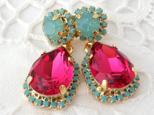 515ebd118 Pink earrings,hot pink earrings,seafoam mint earrings,turquoise earrings,Chandelier  earrings