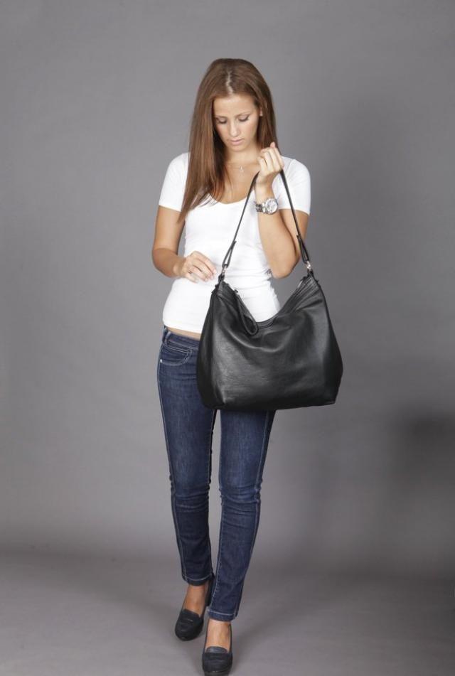 943fff90830 Leather hobo bag - Black hobo bag - Large leather hobo bag - LARGE HELEN