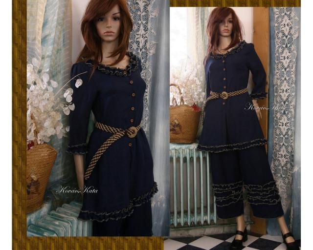 36db8c292f Livia Two Parted Dress - Bohemian Romantic Dark-Blue Linen Tunic with Wide  Legs Pants
