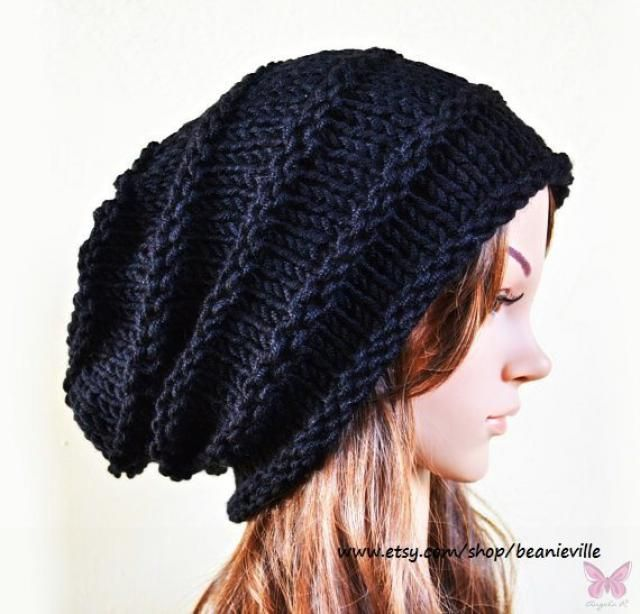 2991951f12d Slouchy beanie - BLACK (Or Choose Color) - ribbed style - slouch - chunky