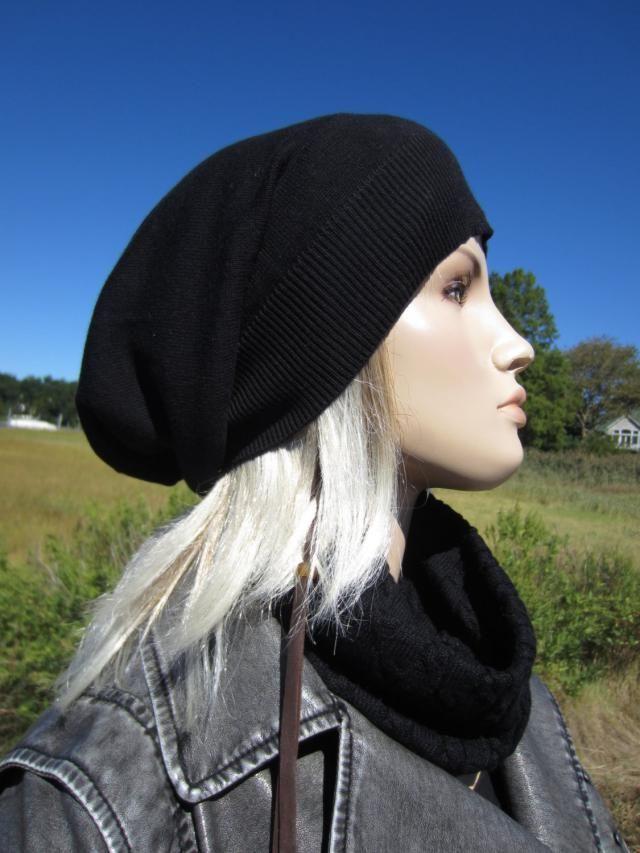 94f5c0975b6cb Womens Black Tams Hats Big Head Slouchy Beanies A1385