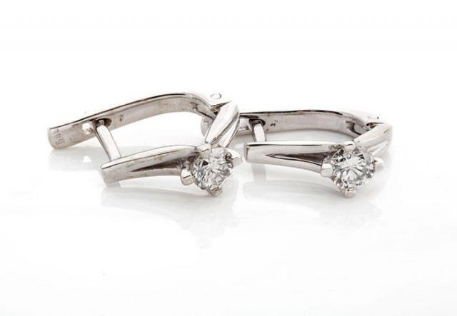 9d02deed9 1/2 carat Gold Diamond Earrings-14K White Gold Earrings-0.5 ct Omega