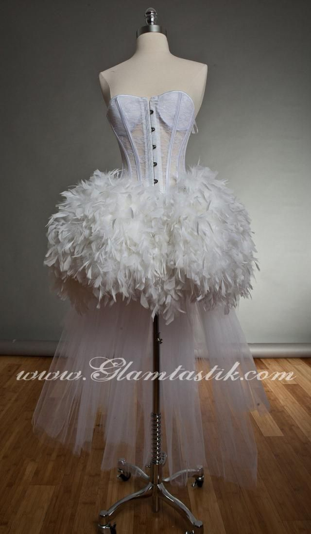 9887d12615 Custom Size White tulle Burlesque feather Corset Prom dress Small-XL