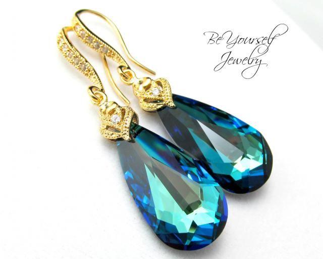b2da6e0c3 Peacock Blue Bridal Earrings Bermuda Blue Wedding Earrings Swarovski Crystal  Teardrop Earrings Gold Sea Green Bridesmai