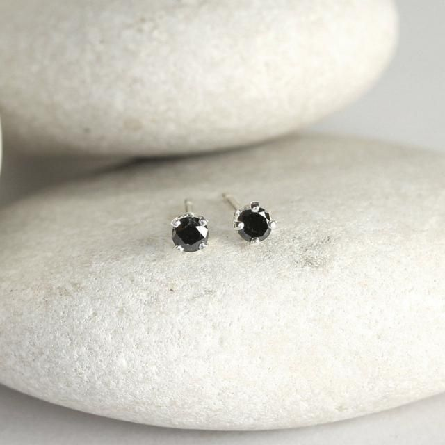 Tiny Black Diamond Earrings With Sterling Silver Posts Second Hole Stud