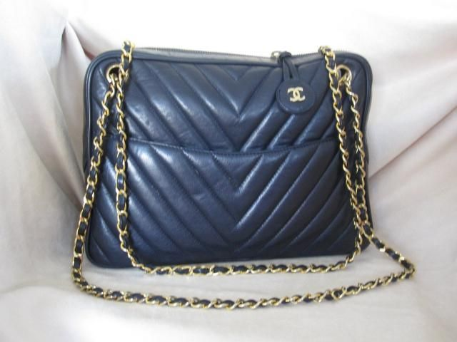"dbff1744bb3f Chanel Early 1980s Chevron ""V"" Quilt Shoulder Camera Bag in Navy Leather –  Jumbo"