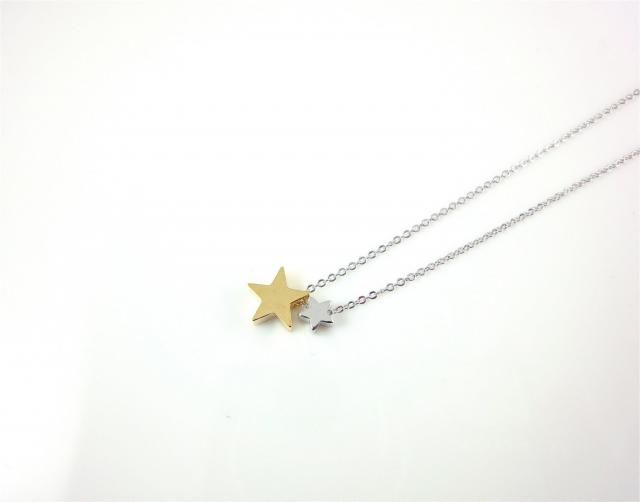 90e964b510a1 Dainty Two Star Necklace, Gold and Silver Stars, Delicate Fine Chain, Rhodium  Silver