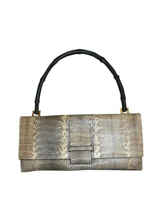 984a0d1900382b SOLD Do Not Purchase Vintage Authentic Gucci Bamboo Handle Python Snake Skin  Leather Envelope Style Flap