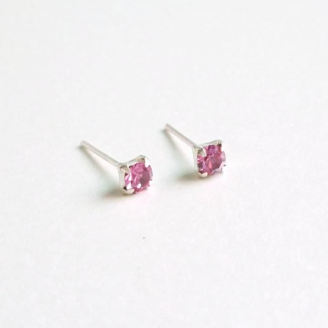 4d232d5f8 3 mm Small Rose Pink Crystal 925 Sterling Silver Stud Earrings - Bridesmaid  Gift - Cartilage