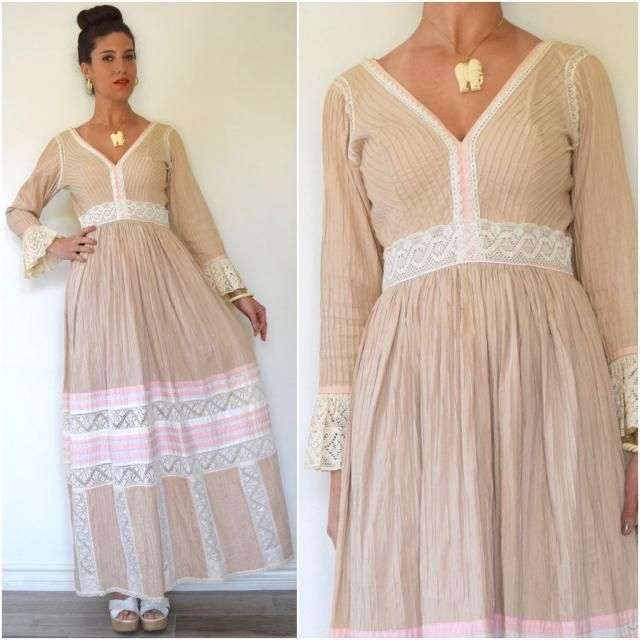 3d8cba362fd Vintage 60s 70s Neapolitan Pin Tucked Pleated Mexican Maxi Dress (size  medium)