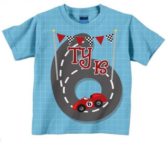 Race Car Shirt Personalized Name Boys Racing Birthday T