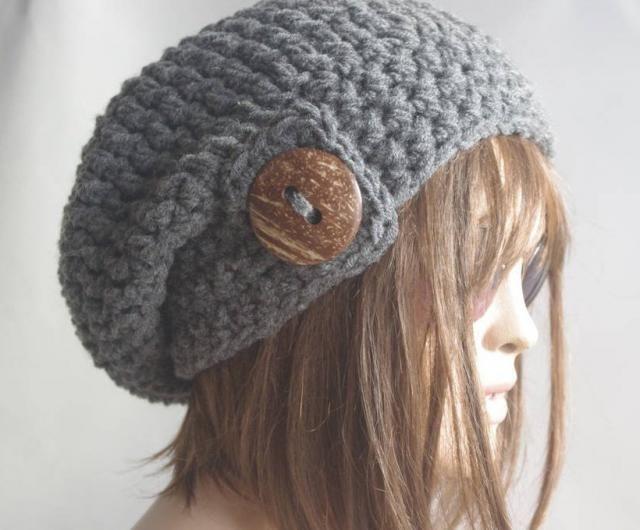 133b9fe8913 womens hat winter hat chemo hat Slouchy Hat black Hat button children hat  child hats beanie