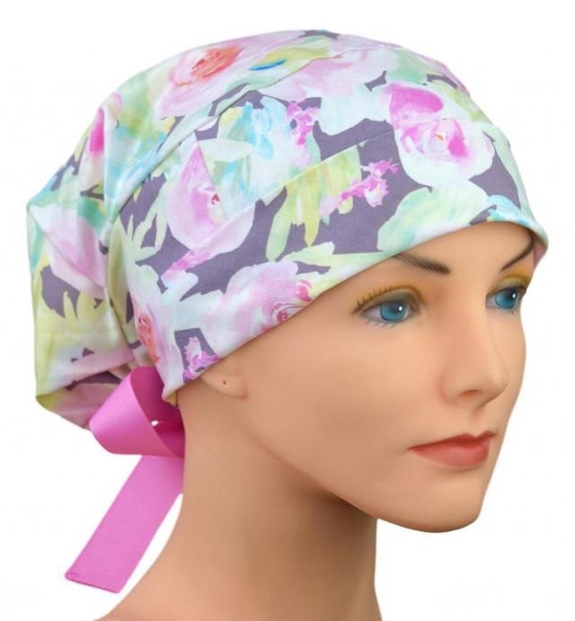 sale retailer 4327c b54ef LARGE Womens Surgical Scrub Caps - Perfect Fit Tie Back - Ribbon Ties -  Watercolor Roses