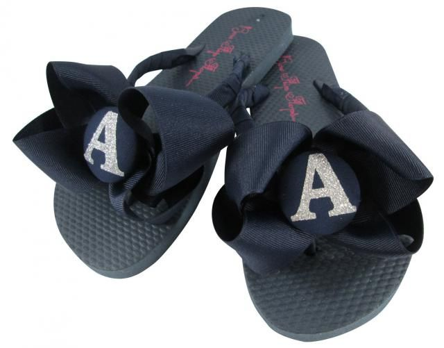 9618db4b3acad Custom Navy Silver Glitter Flip Flops - Personalized with Colors   Bling  Initial. Wedding Flip