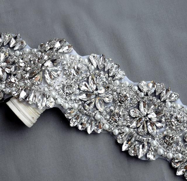 Rhinestone Applique Bridal Accessories Crystal Trim Rhinestone Beaded  Applique Wedding Dress Sash Belt Headband Jewelry… 776e1eec4c43