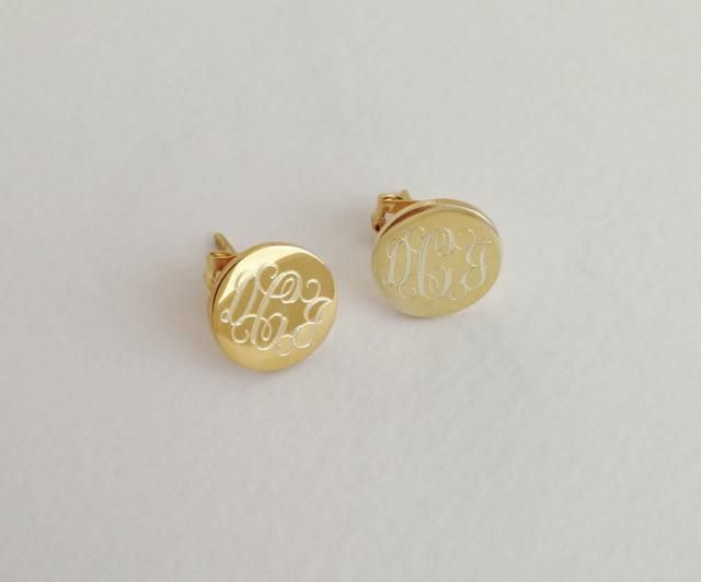 Gold Monogram Stud Earrings Personalized Jewelry For Christmas Gift