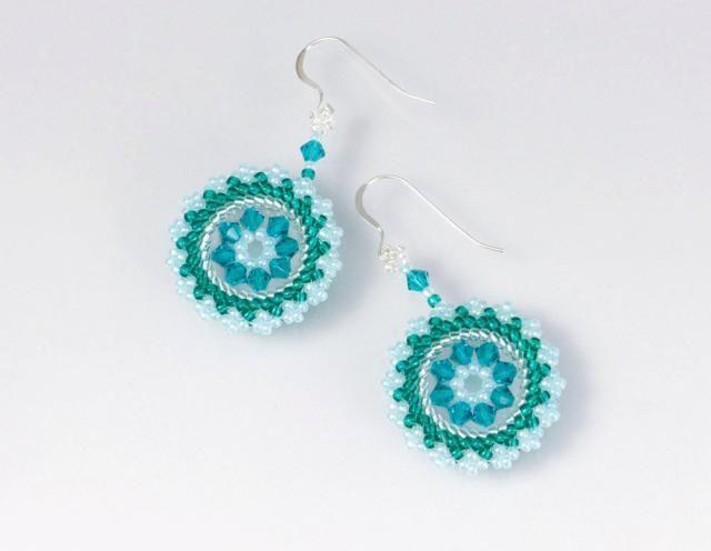 06c946c79 Swarovski crystal earrings Green spring earrings circle, statement earrings  blue green, circular earrings,