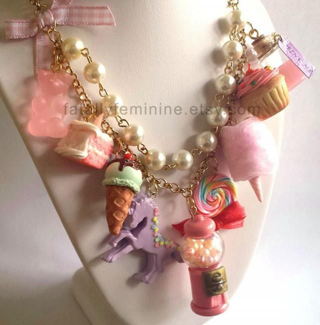 Pink Statement Necklace Kawaii Candy Statement Necklace Dessert Charms Cotton Candy Pink Gumball Machine Unicorn Coutur…