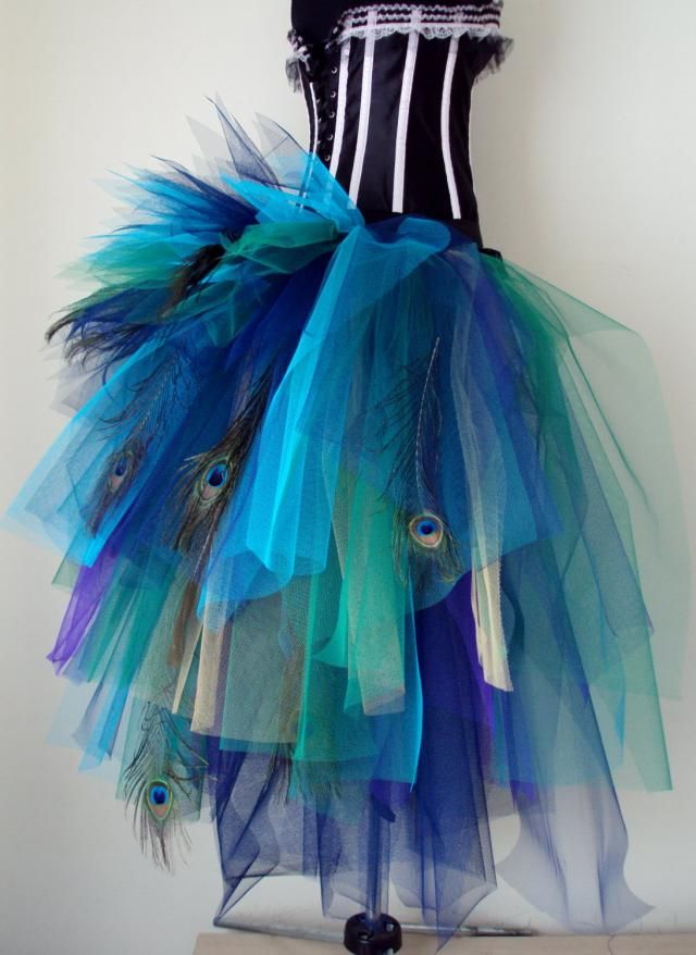 09c66d8e2a French Navy Blue Purple Peacock Feathers Burlesque Tutu Bustle Belt size 4  -10 U.S. 6