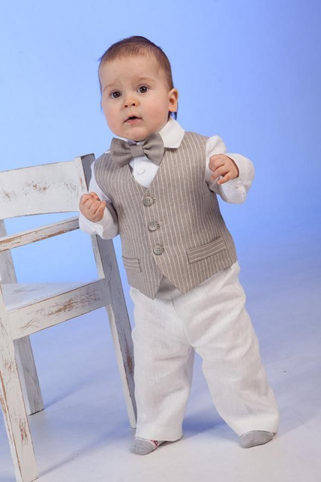 0ab47e329d Ring bearer outfit Baby boy linen suit Baptism outfit 1st birthday natural clothes  Rustic wedding boy