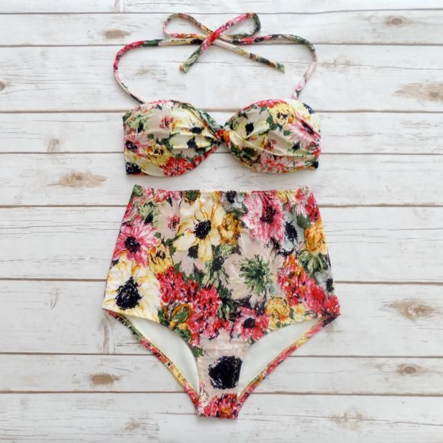 23bc1234b81 Bikini High Waist Waisted Vintage Style Swimsuit Retro Pin-up Bandeau  Swimwear - Pretty Floral