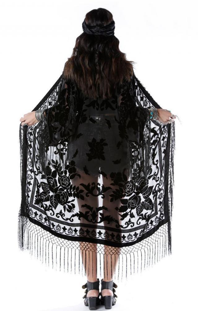 f57d357a2 Moon Chaser Brocade Velvet Burnout Fringe Kimono - Black