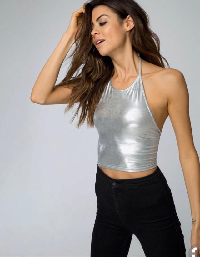 Silver top and black trouser