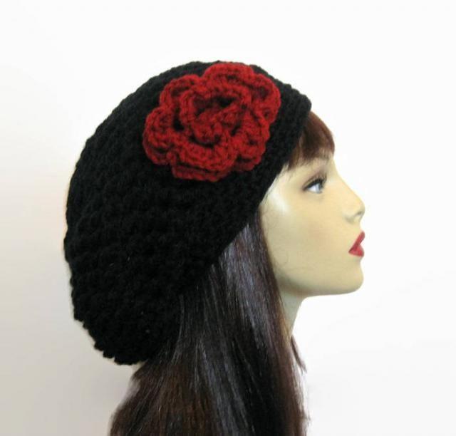 b1fa76ec90d Black Slouch Beanie with Flower Black Slouchy Hat crochet women  s hat with  Flower Black