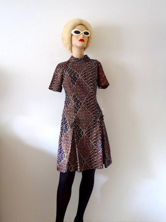65512e8ffbd 1960s Mod Mini Dress   ethnic novelty print a-line shift   NOS vintage  scooter