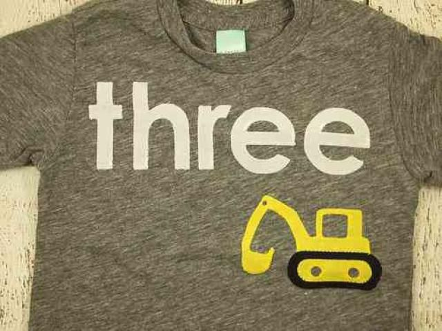 Excavator Tshirt Construction Truck Theme Birthday Party Boys Shirt Black White Grey