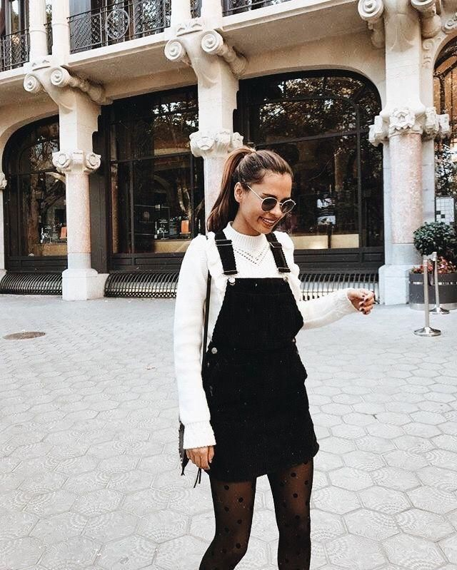 OMG I just love this outfit! It's so cool and warm at the same time! Beautiful overall black dress and soft white sweat…