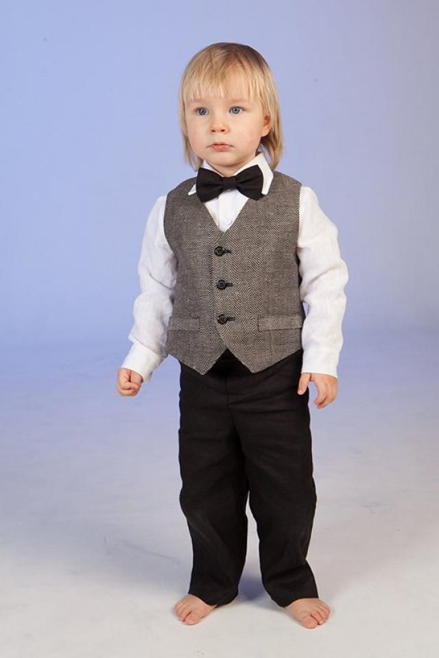 Ring Bearer Outfit Baby Boy Linen Suit Wedding Formal Wear First Birthday Clothes Photo
