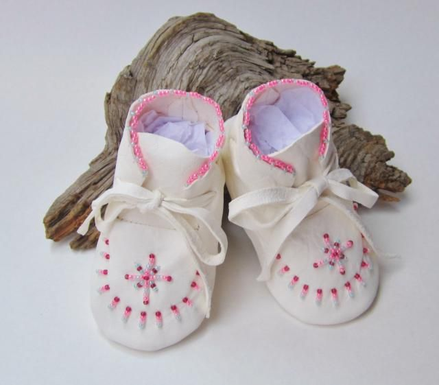 Easter Baby Gift, Pink Beaded Baby Moccasins, Infant Girls&; Baptism Shoes, White