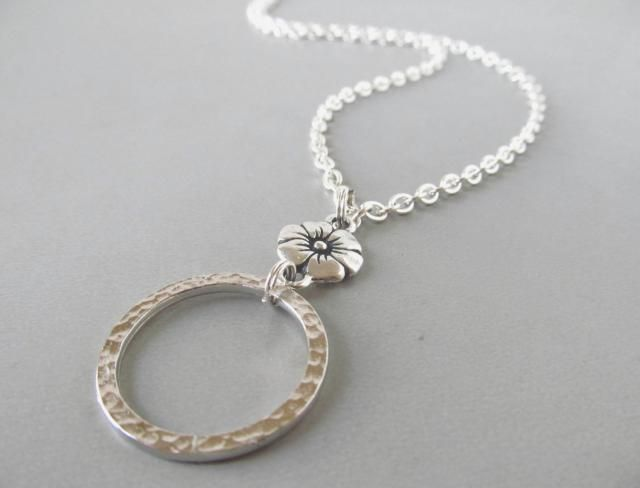 9be4bb4f2e0e Silver Eyeglass Necklace with Flowers - Eyeglass Holders Necklaces - Eyeglass  Lanyard - Silver Glasses Loop