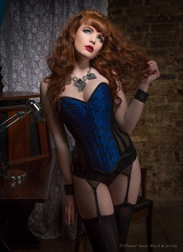 703657962c BESPOKE Electric Blue brocade and sheer overbust corset