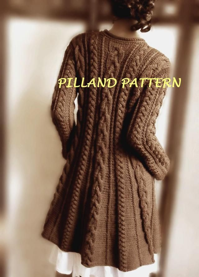 e4cc6d56fd59b2 Cable Knit Coat Sweater Knitting Pattern Aran knit coat pattern PDF knit  Pattern Instant Download pattern