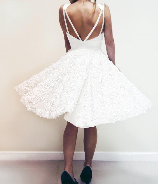 05a54f3d7278 Short Wedding Dress, A-line Tea Length Dress, Vintage Wedding Dress, 50s